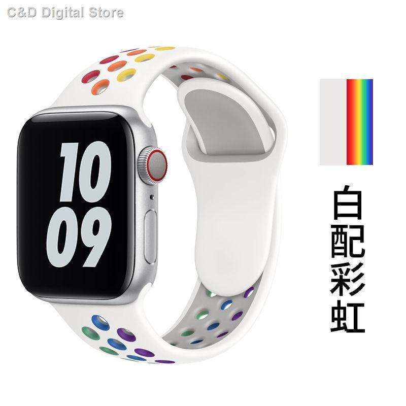 【อุปกรณ์เสริมของ applewatch】☎✣ใช้ได้กับ Apple Watch iWatch สายรัด Tricolor Applewatch พร้อม Black Unity Transparent