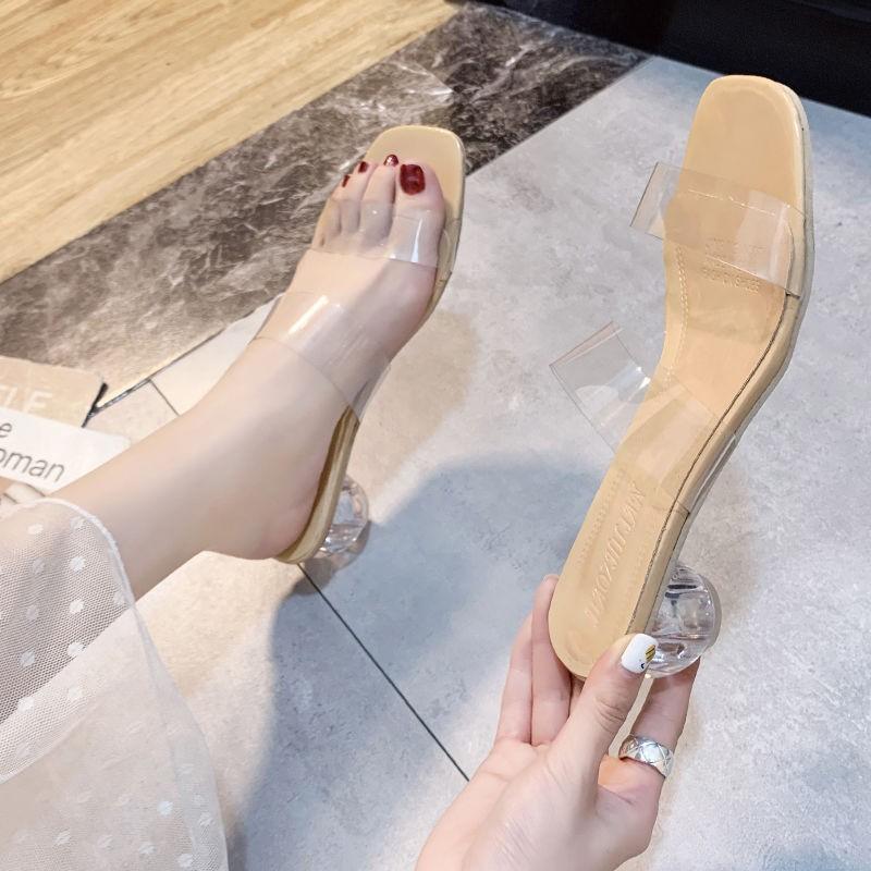รองเท้าส้นสูง หัวแหลม ส้นเข็ม ใส่สบาย New Fshion รองเท้าคัชชูหัวแหลม  รองเท้าแฟชั่นรองเท้าแตะโปร่งใสผู้หญิงสวมใส่ด้านนอก