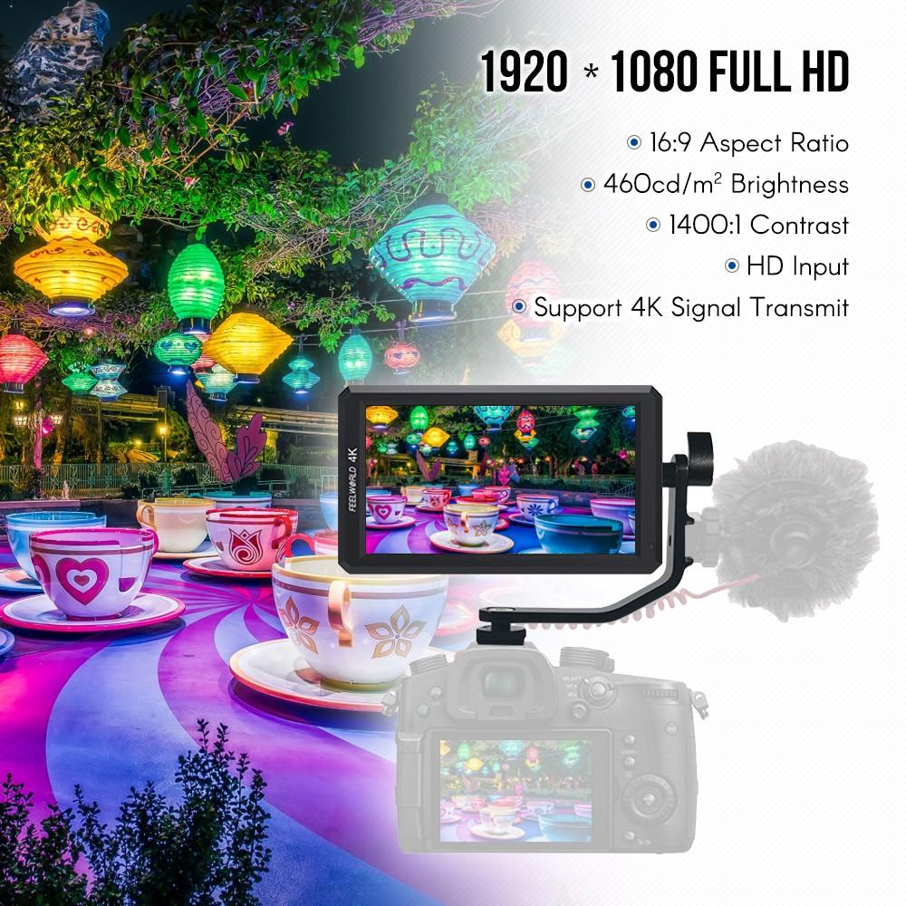 Feelworld F 6 5 . 7 นิ้ว Ips 1080 P Field Monitor 4k Hd อินพุต 1400 : 1 H