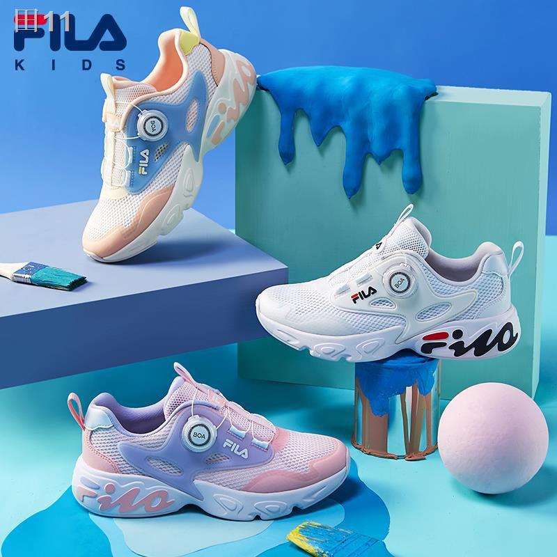 FILA รองเท้าเด็กผู้ชายและเด็กผู้หญิงรองเท้าวิ่ง 2021 ฤดูร้อนสำหรับเด็กรองเท้ากีฬาตาข่ายรองเท้าตาข่ายสำหรับเด็กขนาดกลางแ