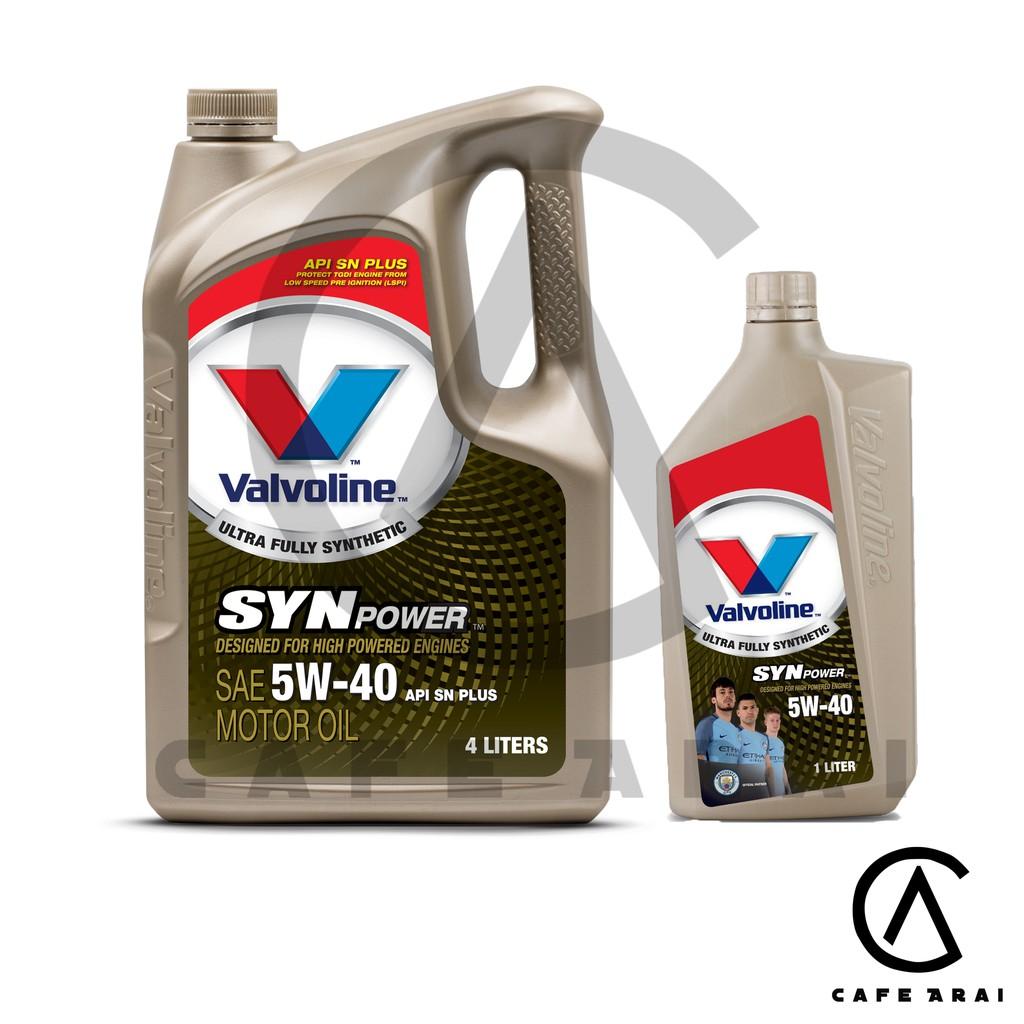 🔥 น้ำมันเครื่องยนต์เบนซิน สังเคราะห์แท้ 100% 5W-40 Valvoline Synpower 5W-40 ขนาด 4 + 1 ลิตร