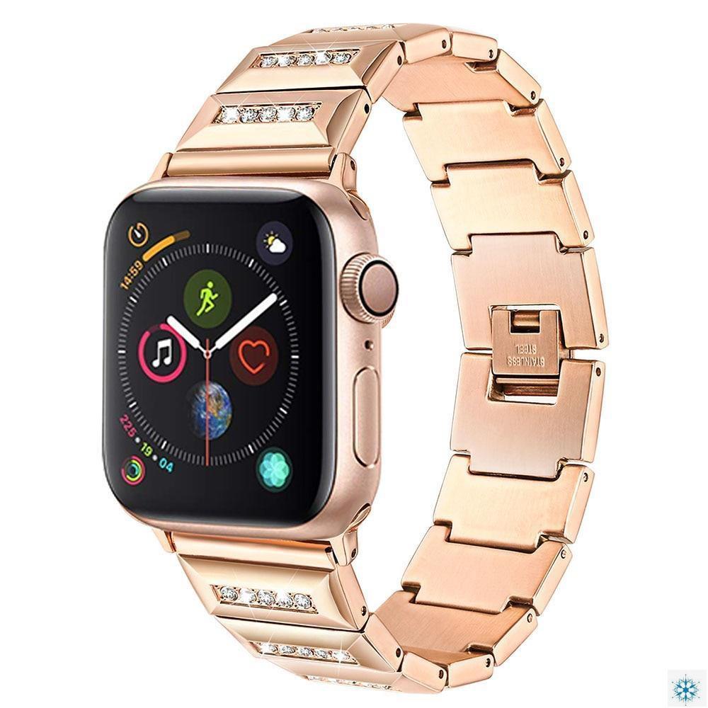 สายนาฬิกาข้อมือโลหะประดับเพชรคริสตัลสําหรับ Apple Watch Se 6 5 4 44mm 40mm Band Iwatch Series 3 2 38mm 42mm