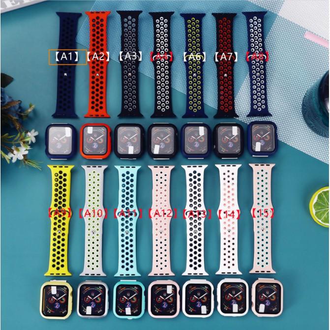 สายรัดซิลิโคน Nike + เคสพีซีสายรัด Apple Watch สายซิลิโคนเหลว iWatch Series SE 6 5 4 3 2 1 สาย Applewatch 38 40 42 44mm