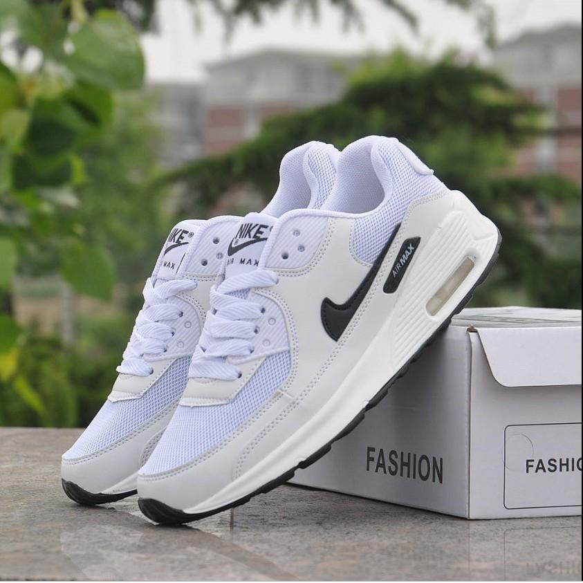 รองเท้าผ้าใบสีขาว แท้ Nike AIR MAX90 รองเท้าผ้าใบผู้หญิง NIKEรองเท้าผ้าใบสีขาว รองเท้าคัชชูผู้หญิง N-325213-131-137-138