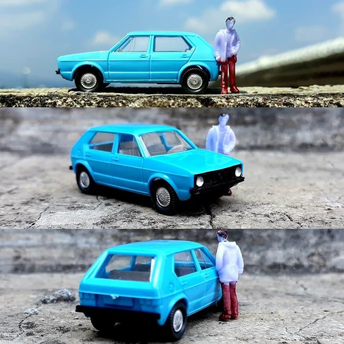 wiking volkswagen golf blue รถจริงรุ่น HO 1:87 FREE figure set