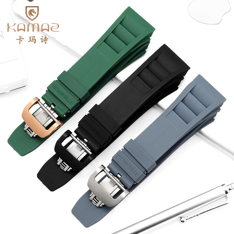 kamaz แทน Richard Miller สายนาฬิกาซิลิโคนซิลิโคนอ่อนนุ่ม RICHARD MILLE Rubber RM011