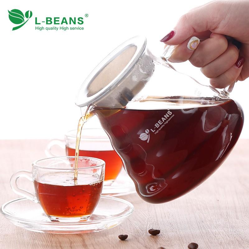 ん♗หม้อกาแฟหนาหม้อกาแฟ moka  L-BEANS Cloud Pot Sharing Pot หม้อต้มกาแฟแก้วทนความร้อนเครื่องชงกาแฟทำมือ 360ml / 600ml