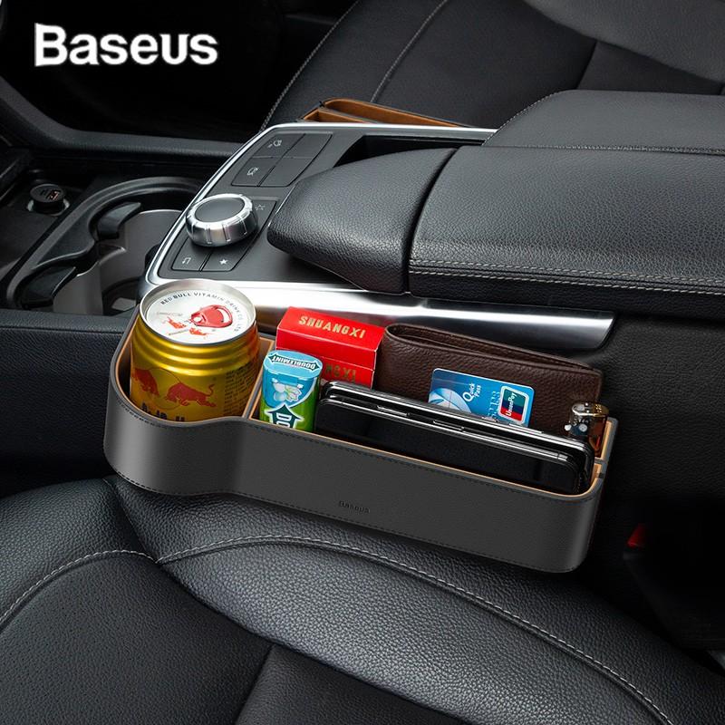 BASEUS กล่องใส่ของอเนกประสงค์ ภายนอกหุ้มด้วยหนัง สำหรับใช้งานในรถยนต์ Car Organizer Auto Seat Gap Storage Box For Pocket Organizer Wallet Cigarette Keys Phone Holder