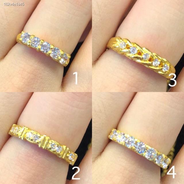 ราคาต่ำสุด▽SSW GOLD แหวนทองแท้ 96.5% น้ำหนัก 1 สลึง ฝังเพชร cz แบบแถว