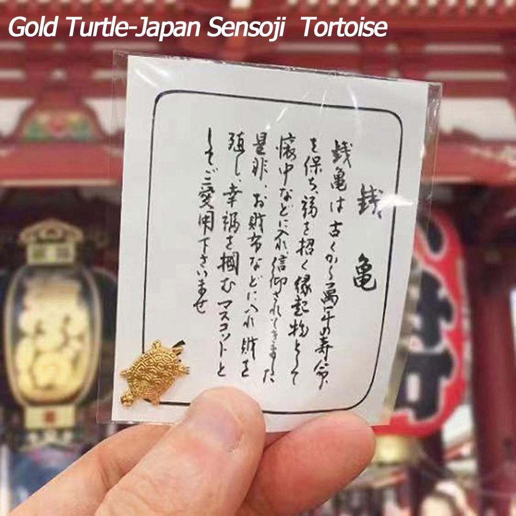 Ready Stock 1PC ชิ้นทองคำญี่ปุ่นและเต่าเงินทองและเงินโชคดีโชคดี วัดเต่าทอง