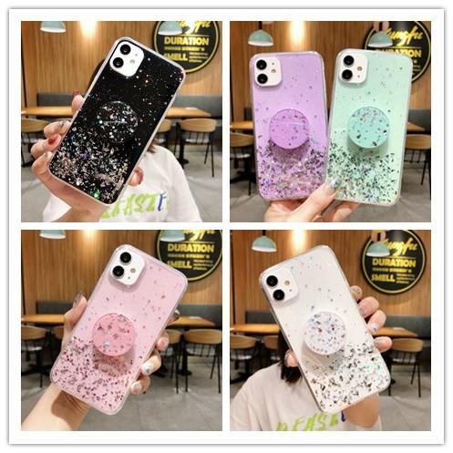 เคส Samsung A20S A10S A9 A7 A6 Note 10 9 8 Pro Sequin Glitter soft TPU Case Cover+Stand / PTZ