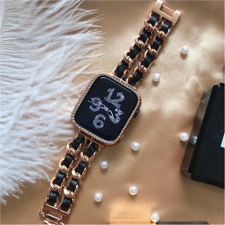 สาย applewatch▦♘Qqiling เหมาะสำหรับสายคล้องโซ่ Apple Watch applewatch น้ำหอมขนาดเล็ก iwatch54 / 6 SE รุ่น