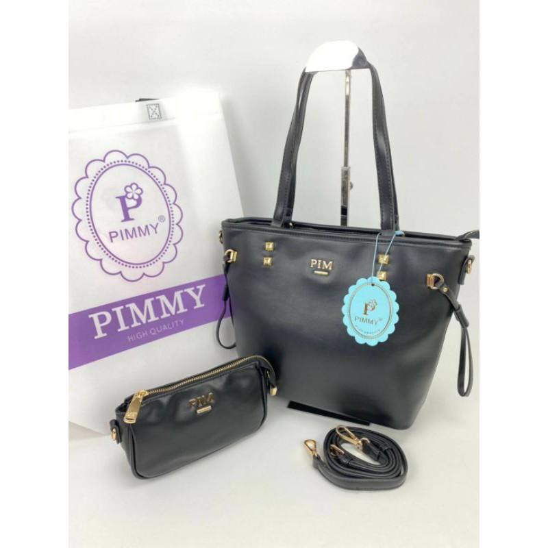 Pimmy สีดำ กระเป๋า แบรนด์แท้100% มือ1 หนังนิ่ม กระเป๋าpimmy พิมมี่ กระเป๋าแฟชั่นผู้หญิง กระเป๋าแฟชั่น