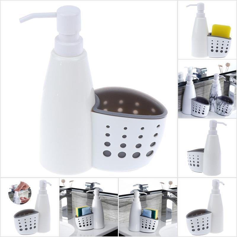 Jtmy ขวดใส่น้ำยาล้างจาน พร้อมตะกร้าใส่ฟองน้ำ