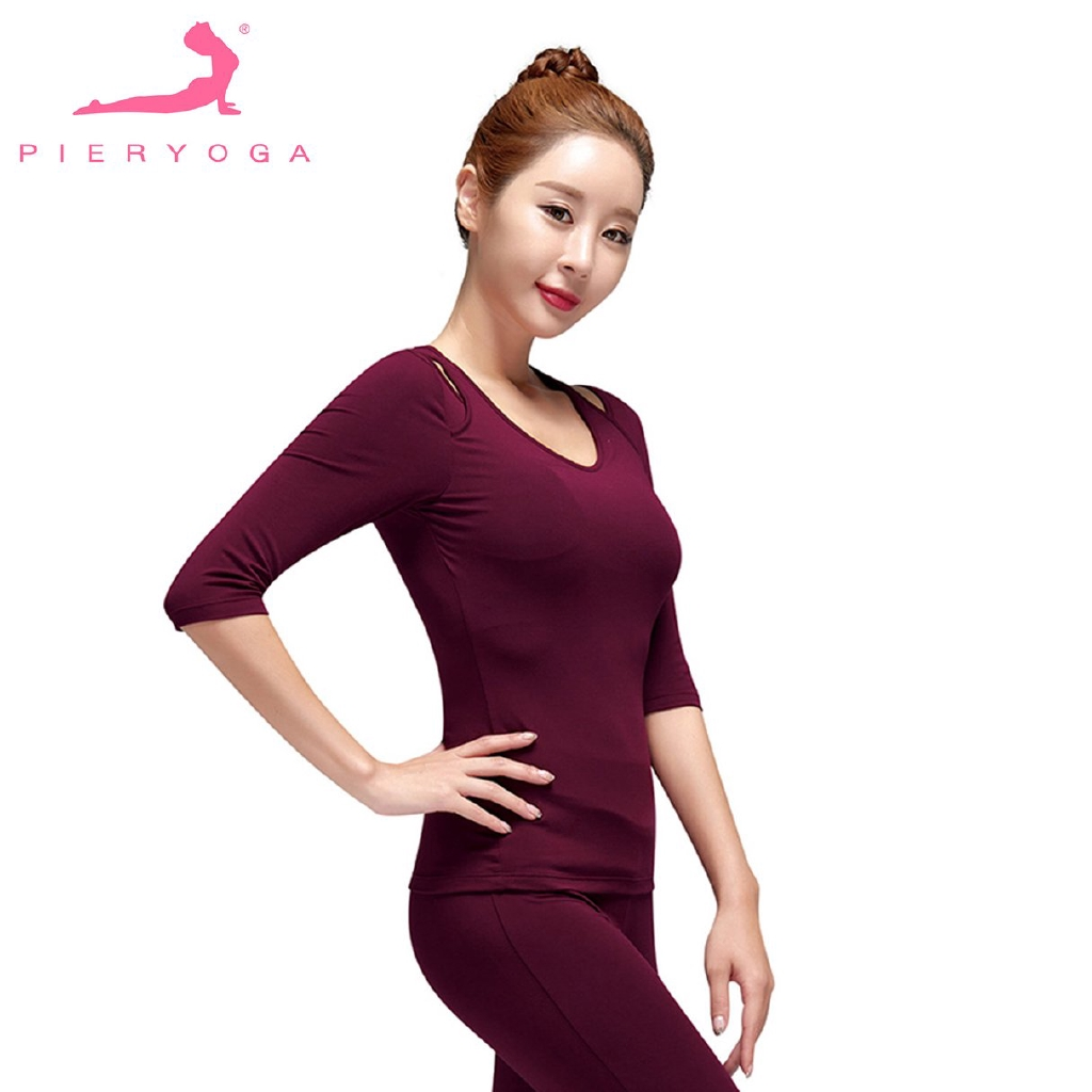 661211891b8970  MB Pieryoga Women Back Cross with Mesh Design Middle-sleeve Slim Yoga  Shirt