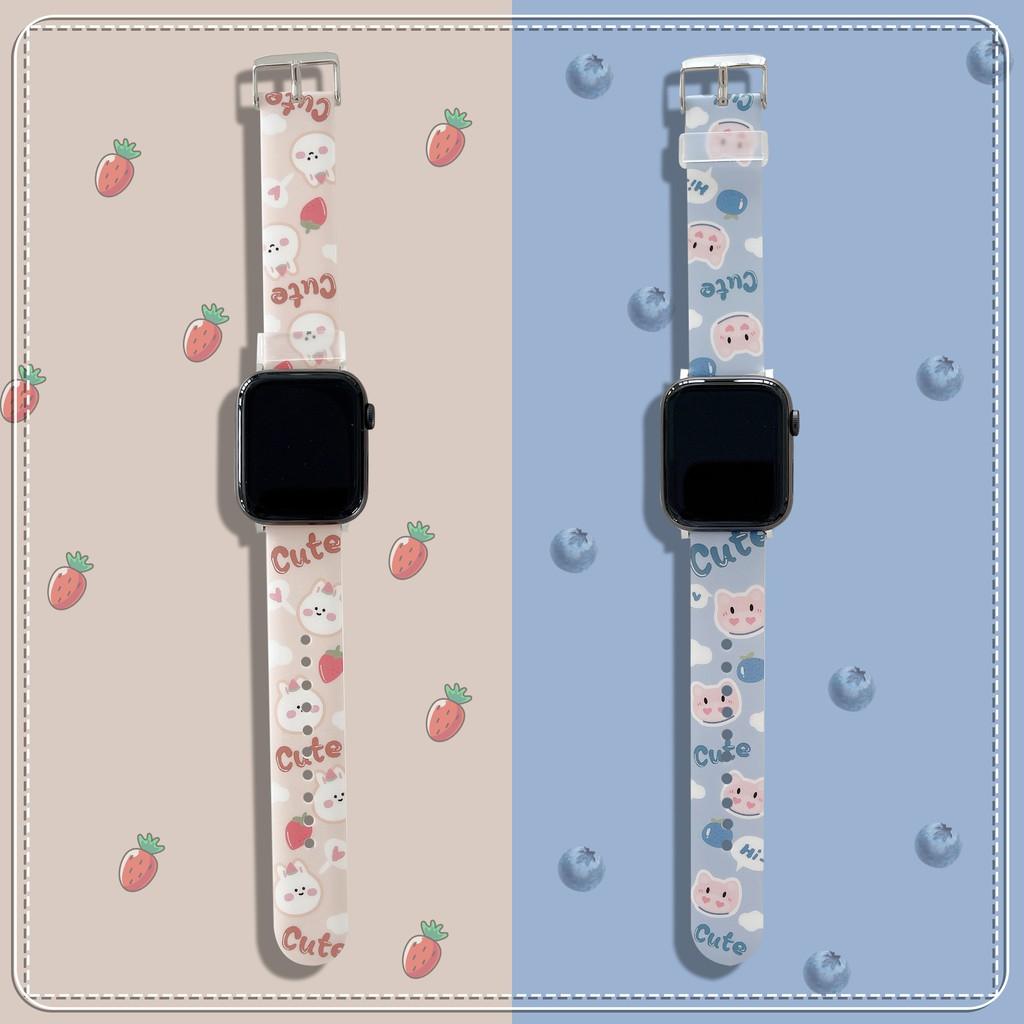 ใหม่ cute rabbit apple watch strap สายยางนุ่ม iwatch series SE 6 5 4 3 2 1  สาย applewatch 38 40 42 44mm