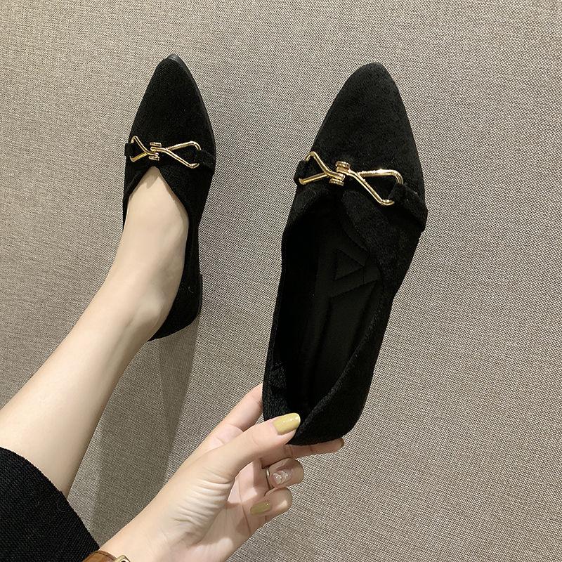 รองเท้าคัชชูหัวแหลม รองเท้าผู้หญิง2020ฤดูใบไม้ผลิเวอร์ชั่นเกาหลีใหม่ของรองเท้าสีดำชี้หญิงแบนอังกฤษรองเท้าขนาดเล็กรองเท้า