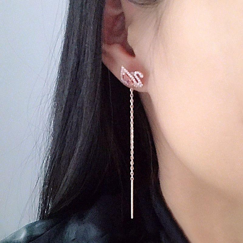 สร้อยคอสวารอฟสกี้○Swarovski แท้ ใหม่ สีชมพู เพชร หงส์ สุภาพสตรี แบบ dual-use ต่างหู/earrings เครื่องประดับ ของขวัญ 54699