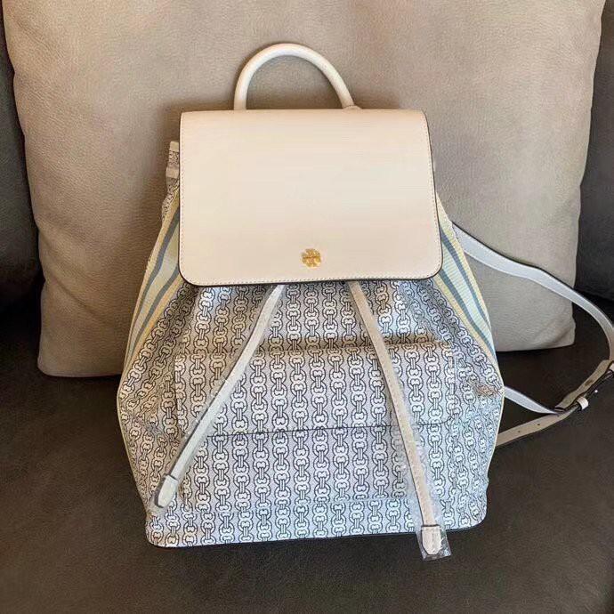 กระเป๋าเป้เดินทาง กระเป๋าเป้ใบเล็ก พร้อมส่งสีขาว SALE 6999 ลดถูกที่สุด👜Tory Burch Gemini Link Canvas Backpack สวยน่ารัก