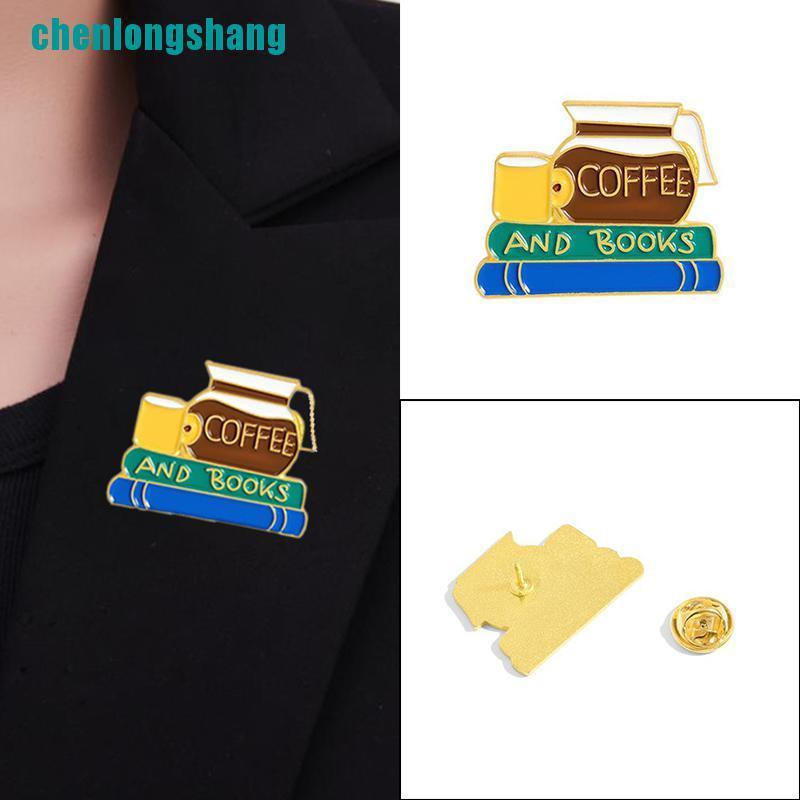 【ang】Creative Cartoon Books Coffee Enamel Brooch Pin Lapel Backpack Jewelry Gift