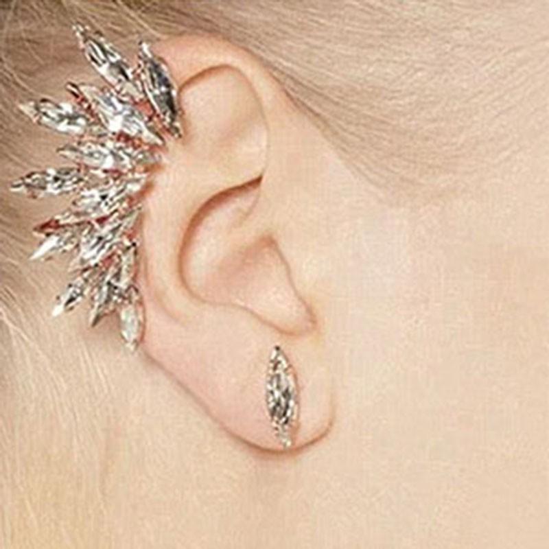 Fashion Silver Crystal Rhinestone Hook Wrap Ear Cuff Stud Earrings Golden