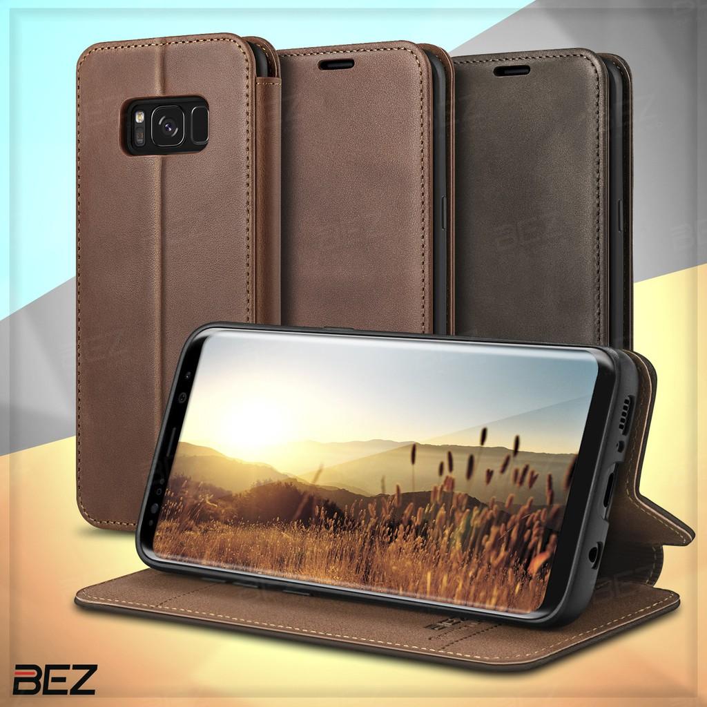 เคส Samsung S8 Case เคสหนังแท้ BEZ เคสหนังฝาพับ ฝาปิด พร้อมช่องใส่บัตร Wallet Flip Case