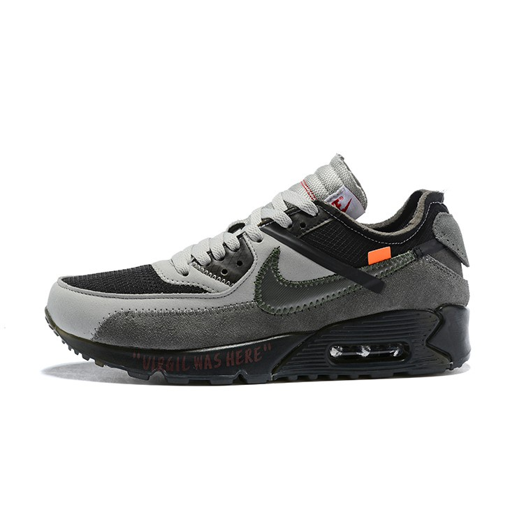 ✚Off White Air Max 90 Grey สีเทาเข้ม Air Max 90 Sports Running Shoes