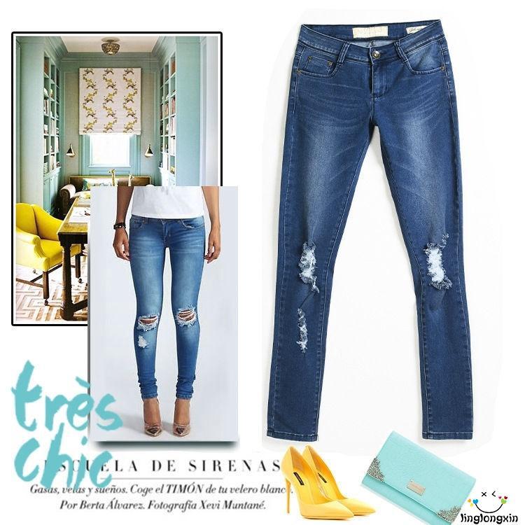 Women's Stretch Ripped Skinny Jeans High Waist Denim Pants Slim Pencil Trousers