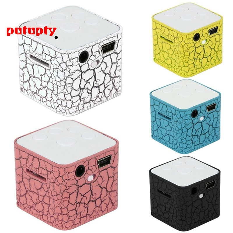 Mini Portable 3.5mm Square Colorful Lights Music Speaker SD TF Card MP3 Player