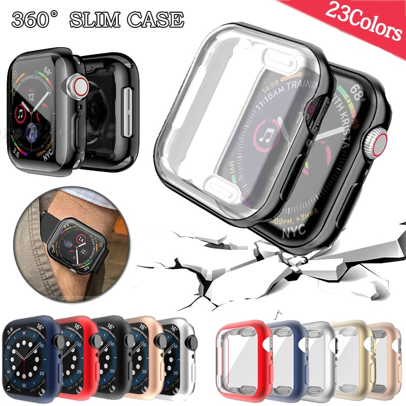 Watch Cover case For Apple Watch series 6 5 4 3 2 1 case 42mm 38m 40mm 44mm Slim TPU case Screen Protector for iWatch 6