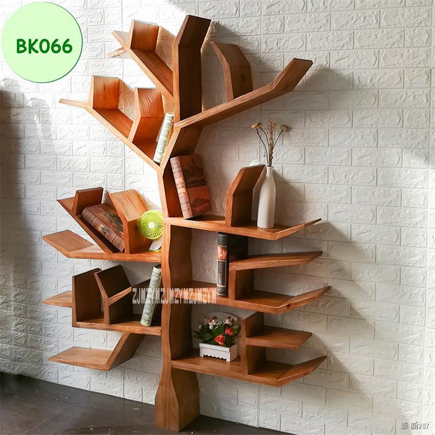 ﹍✽◙BK066 Creative Solid Wood Bookshelf Living Room Bedroom Wall Decorative Shelf Bookcase DIY Tree Shape Wooden Books St