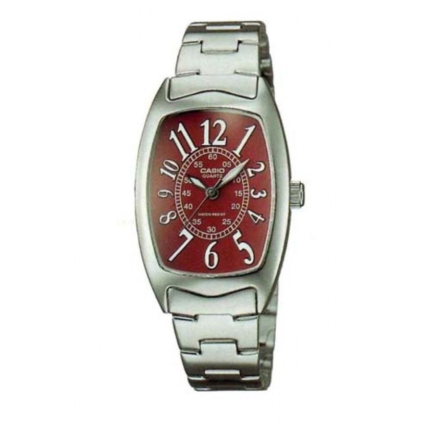 Casio Standard นาฬิกาข้อมือผู้หญิง สายสแตนเลส รุ่น LTP-1208D-4BDF - สีเงิน/แดง