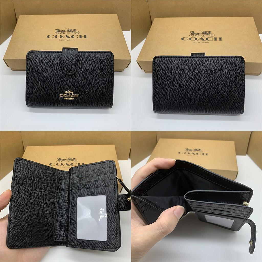 ☸△(พร้อมส่ง) กระเป๋าสตางค์ผู้หญิงใบสั้น Coach 11484 แท้ / กระเป๋าสตางค์สีทึบ