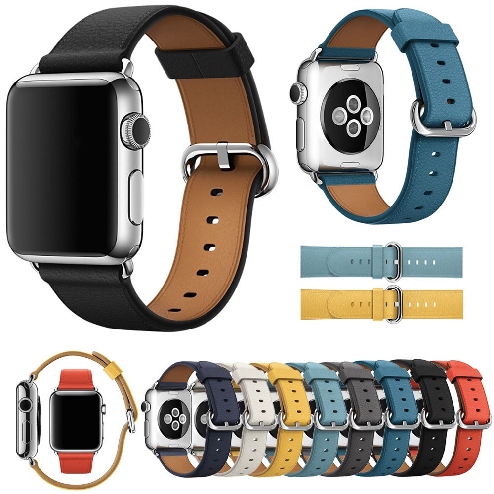 Strap for Apple Watch Series 4/5 Band 44mm 40mm Classic Buckle Genuine Leather Watchband for iWatch 3/2/1 42mm 38mm Bracelet