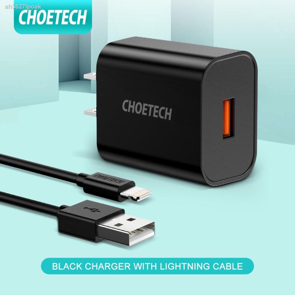 เตรียมจัดส่ง🎉☏㍿[CHOETECH] หัวชาร์จเร็ว QC3.0 อะแดปเตอร์ชาร์จแบตมือถือ USB 18W ใช้ได้โทรศัพท์ for Samsung Galaxy S10/S9