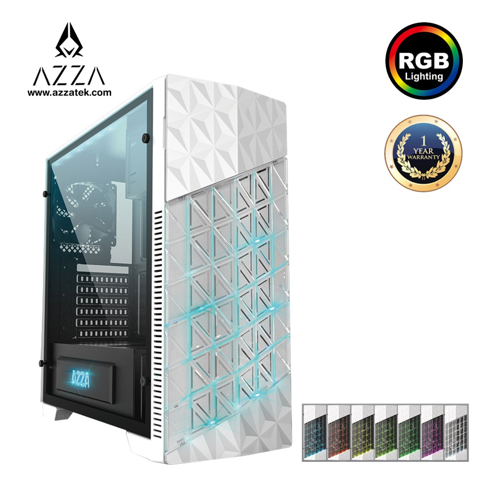 AZZA ATX Mid Tower Tempered Glass RGB Gaming Case ONYX 260 – White