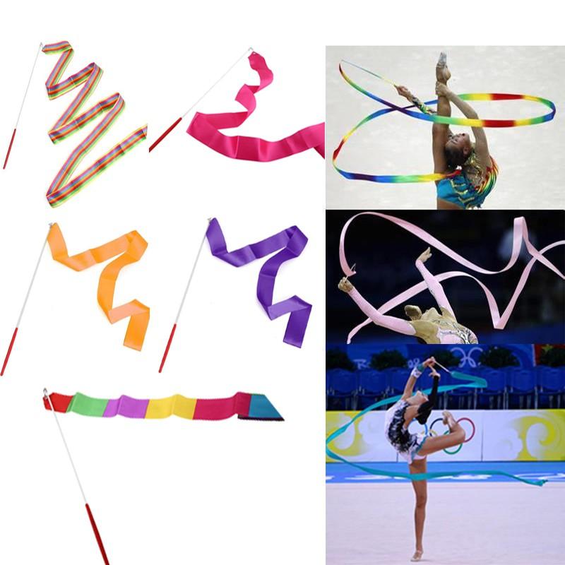 4M Dance Ribbon Gym Rhythmic Art Gymnastic Streamer Twirling Rod Stick NEW