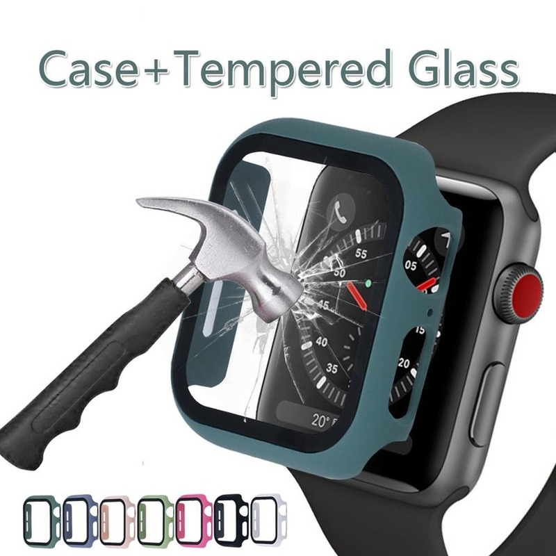 Apple Watch 360 full-screen protective case for iwatch series 6 SE 5 4 3 2 1 Suitable for 38MM 42MM 40MM 44MM bumper frame PC frosted hard watch case Tempered glass cover