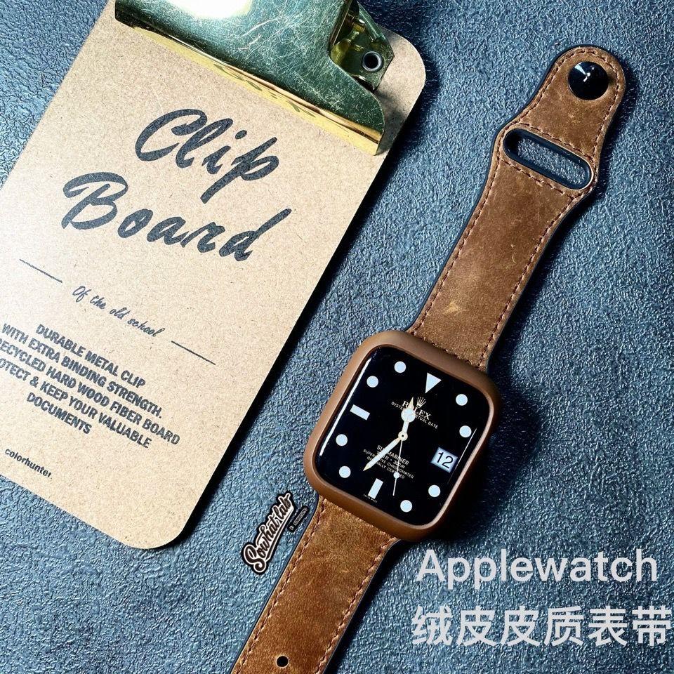 ※※ สายนาฬิกาข้อมือหนังกํามะหยี่สําหรับ Applewatch 3456 Generation Se