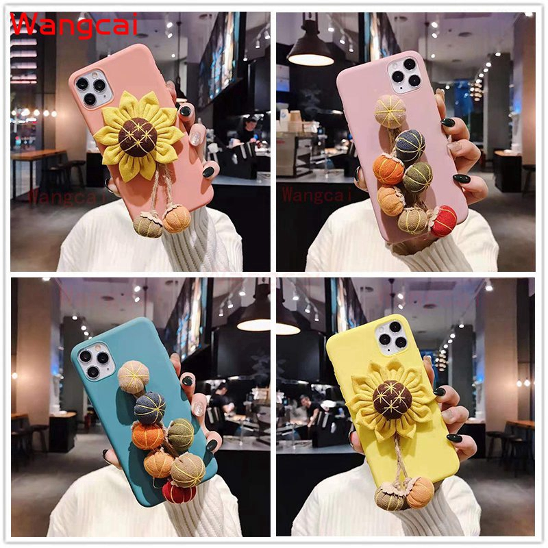 Samsung Galaxy A9 A8 A7 A6 A6+ Plus A5 2018 2017 A9 Pro 2016 A8S Case Sun Flower Hairy Plush Winter Cartoon Case Cover