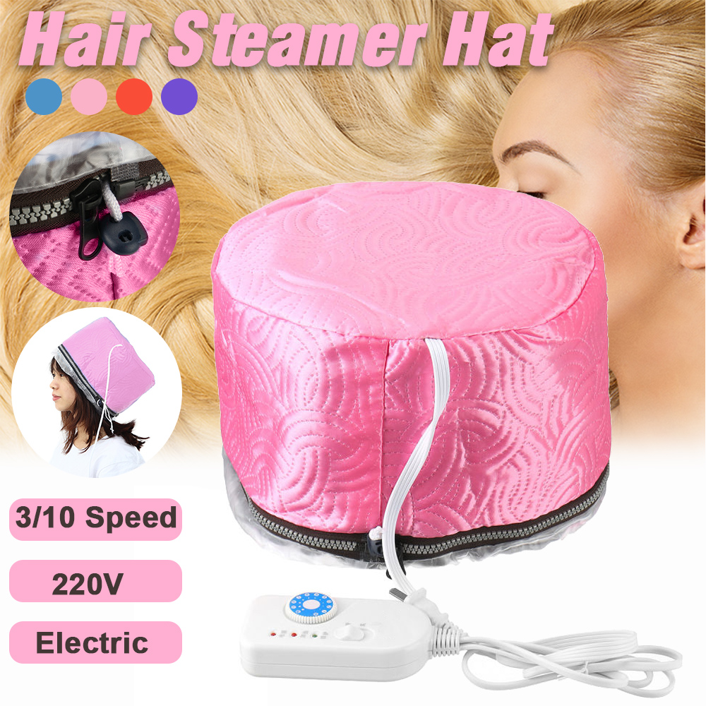 10 Speed 60วัตต์เครื่องอบไอน้ำผมหมวกเครื่องอบผ้าไฟฟ้าหมวกทำความร้อนผมหมวกป้องกันสปาความงามสีแดง220V s96f