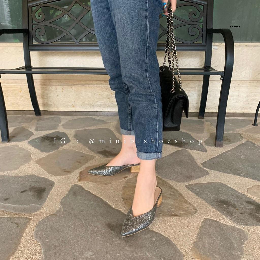 MiniB-052 รองเท้าทรงคัชชูหัวแหลมเปิดส้นเท้า (สีเทาดำ)รองเท้ารองเท้าผู้ชายรองเท้าผู้หญิงรองเท้า