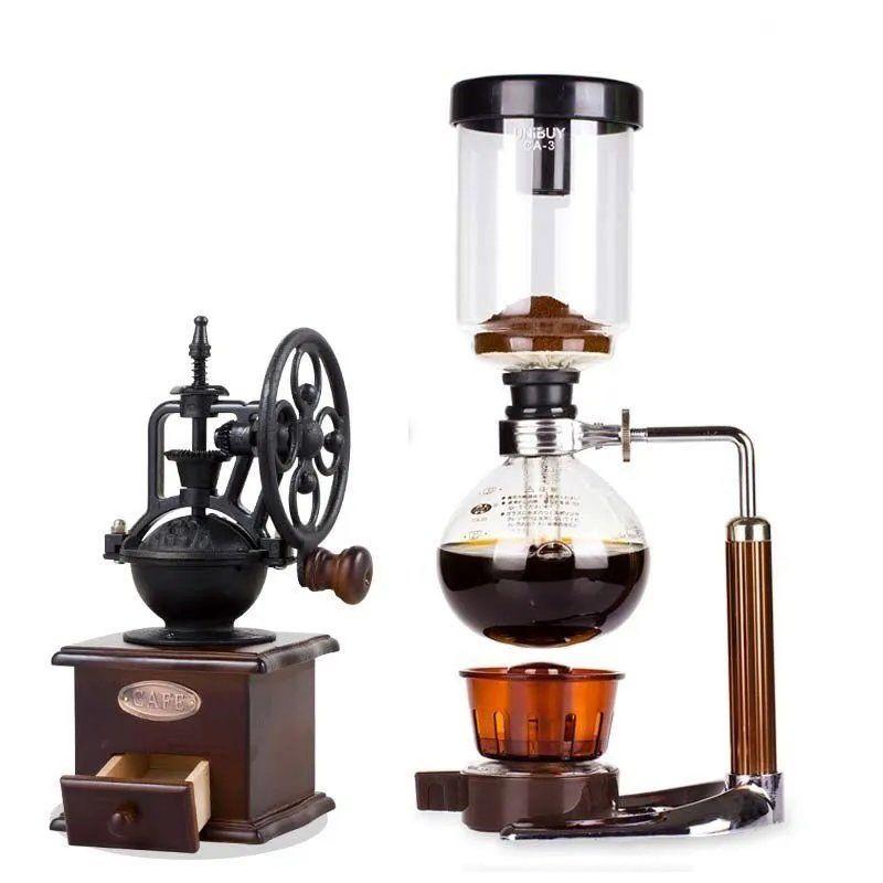moka pot หม้อกาแฟบดในครัวเรือนแก้วกาลักน้ำหม้อกาลักน้ำคู่มือทำอาหารเครื่องชงกาแฟชุดชิงช้าสวรรค์ย้อนยุค I4T3