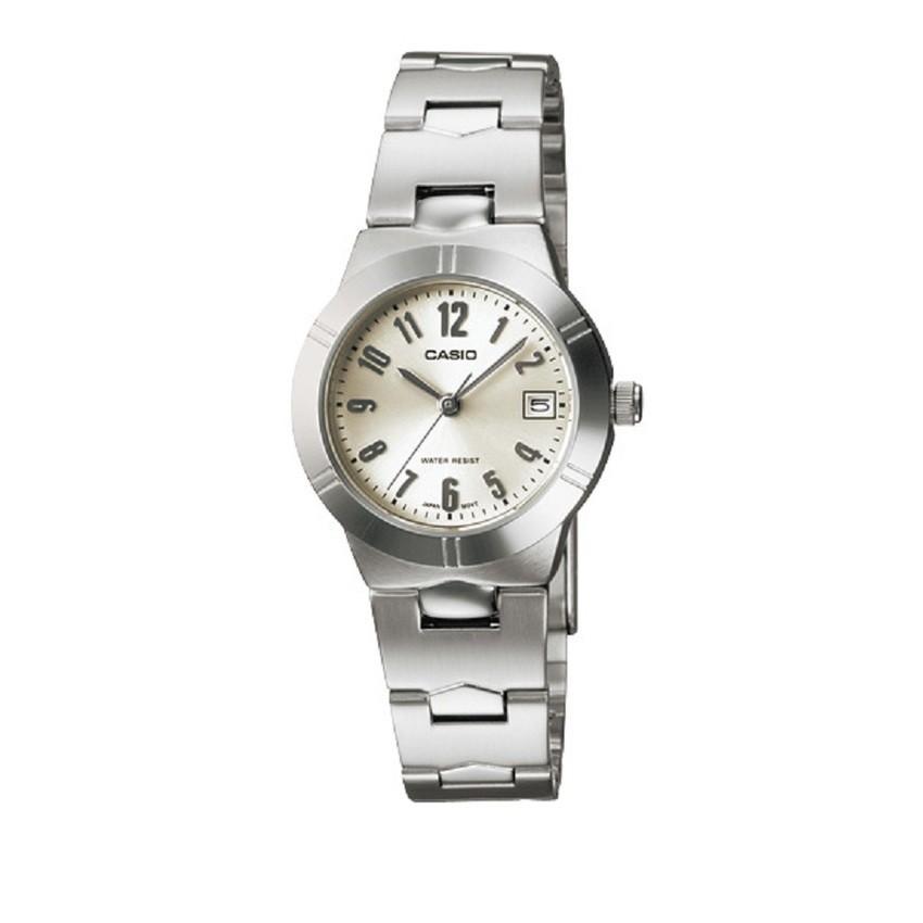 Casio นาฬิกาข้อมือผู้หญิง สายสแตนเลส รุ่น LTP-1241D-7A2DF - สีเงิน/ขาว
