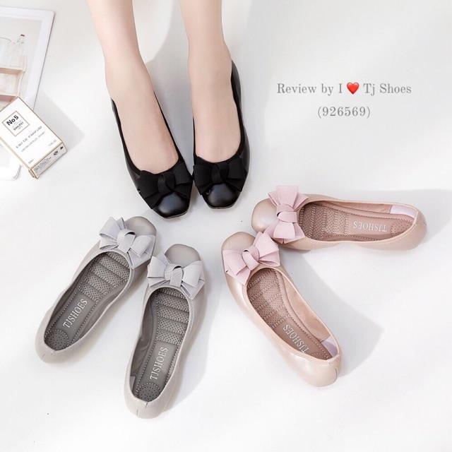 รองเท้าเพื่อสุขภาพผู้หญิง ไซส์36-41 นุ่มเบาใส่สบาย หนังนิ่ม คัชชู ส้นแบน ลำลอง หุ้มส้น ไซส์พิเศษ Tj Shoes 926569