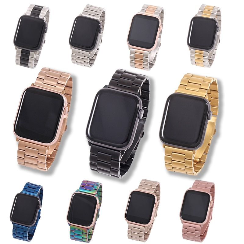 Band For Apple Watch6 5 4 3 2 1 42mm 38mm 40MM 44MM Metal Stainless Steel Watchband Bracelet Strap for iWatch Series Acc