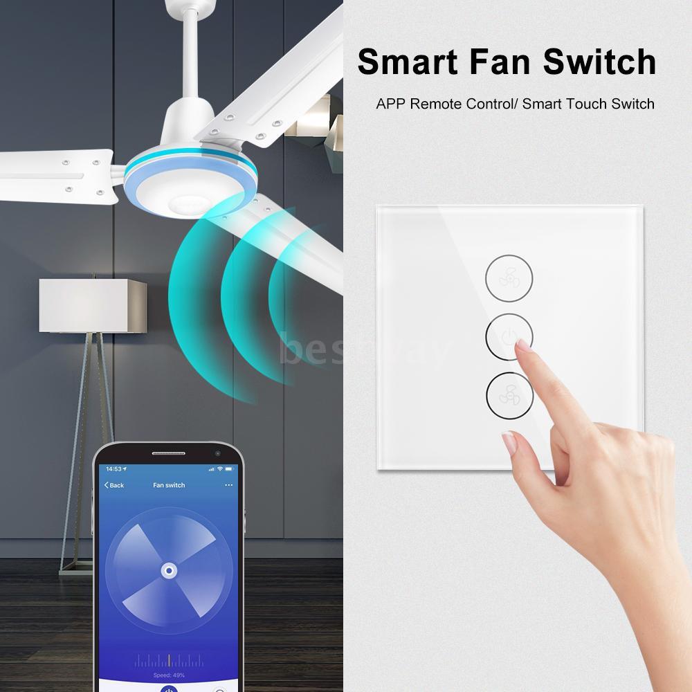 Tuya WiFi Smart Ceiling Fan Switch US/AU Smart Touch Switch Timer