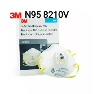 3M 8210V N95 ชนิดมีวาล์ว หน้ากากป้องกันฝุ่น 1กล่อง (มี10ชิ้น) Valved 8210V 8210 เอ็น95