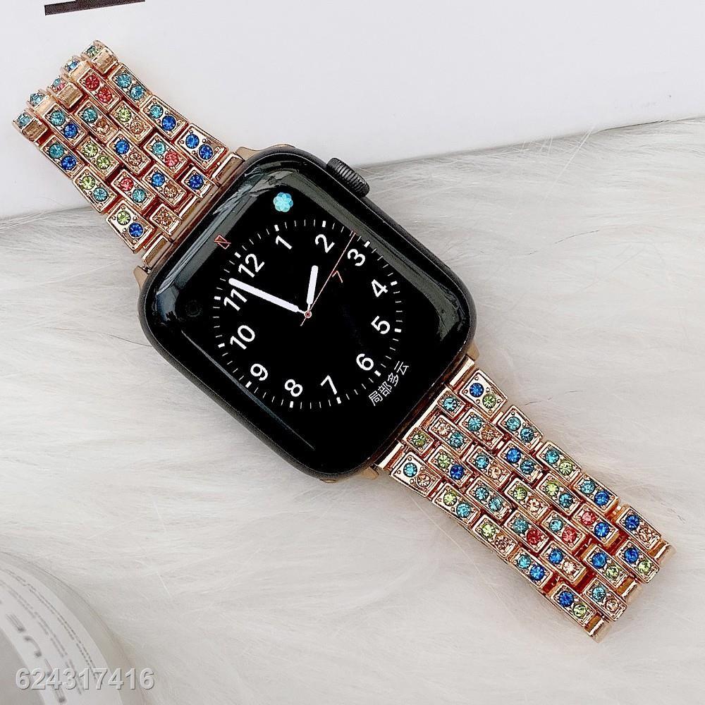 ☃❁Luxury สายนาฬิกา Apple Watch Straps Diamonds Bling เหล็กกล้าไร้สนิม สาย Applewatch Series 6 5 4 3, SE Stainless Steel
