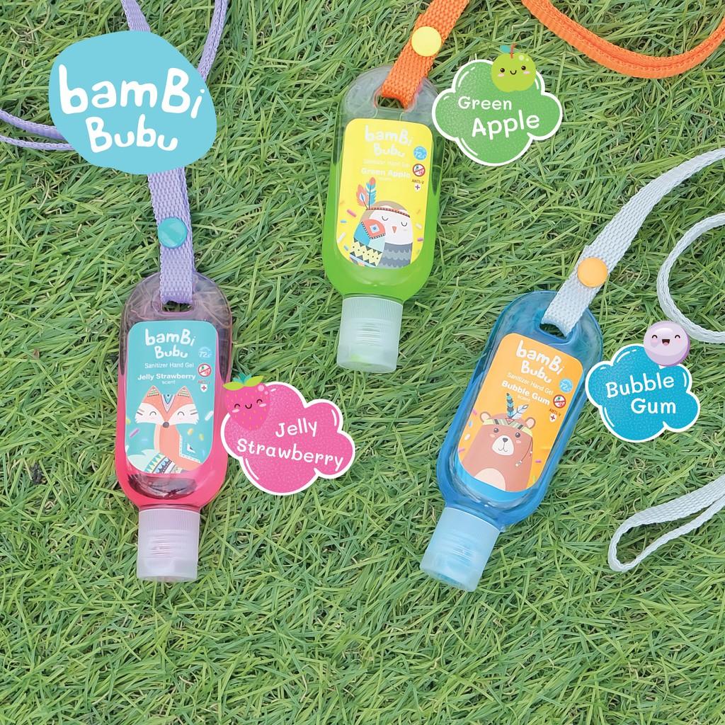 (เซ็ต 3 สี) Bambi Bubu แบบคล้องคอ เจลล้างมือสำหรับเด็ก เจลแอลกอฮอล์ล้างมือ เจลล้างมือ ขนาด 30ml